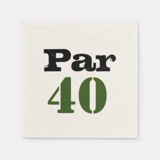 Golf par 40 forty birthday golfer with number napkins