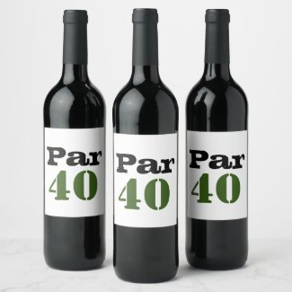 Golf par 40 forty birthday golfer with number wine label