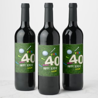 Golf Par 40 happy birdie to golfer golf ball & tee Wine Label