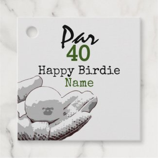 Golf Par 40th Birthday for Golfer Happy Birdie Favor Tags