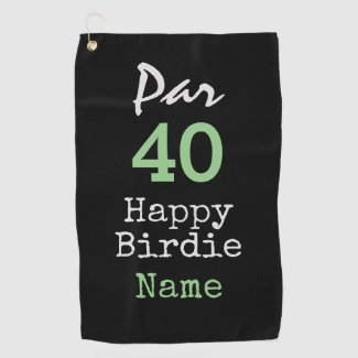 Golf Par 40th Birthday for Golfer Happy Birdie Golf Towel
