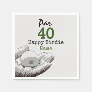 Golf Par 40th Birthday for Golfer Happy Birdie Napkins