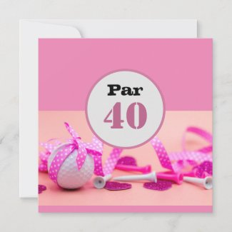 Golf  Par 40th Birthday with pink ribbon on pink