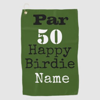 Golf par 50 Happy Birdie with number fifty golfer Golf Towel