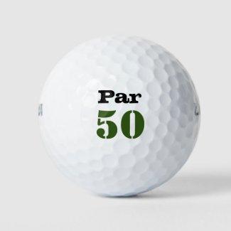 Golf Par 50th birthday with number Golf Balls
