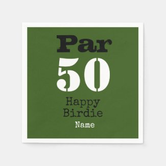 Golf par 50th Happy Birdie with number fifty Napkins