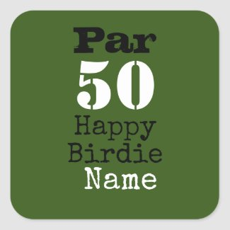 Golf par 50th Happy Birdie with number fifty Square Sticker
