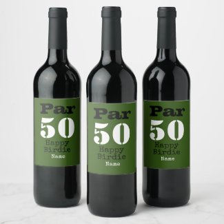 Golf par 50th Happy Birdie with number fifty Wine Label