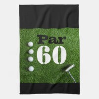 Golf Par 60th sixty years olds golfer birthday Kitchen Towel