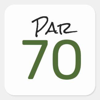 Golf Par 70 word for golfer 70th Birthday Square Sticker