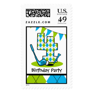 Golf Par-Tee 4th Birthday Postage