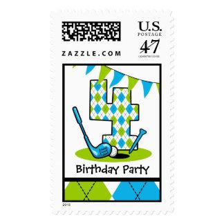 Golf Par-Tee 4th Birthday Postage Stamp