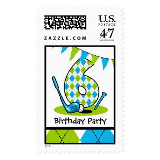 Golf Par-Tee 6th Birthday Postage Stamp