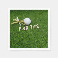 Golf Par tee golf ball with golden ribbon on green Napkins
