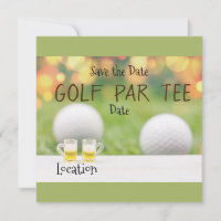 Golf Par Tee Party for golfer with beer invitation