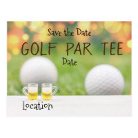 Golf Par Tee Party for golfer with beer invitation Postcard