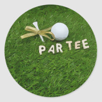 Golf Par Tee with tee and golden ribbon on green Classic Round Sticker