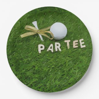 Golf Par Tee with tee and golden ribbon on green Paper Plate