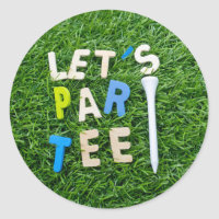 Golf Par Tee with tee on green golfer party Classic Round Sticker