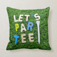 Golf Par Tee with tee on green golfer party Throw Pillow
