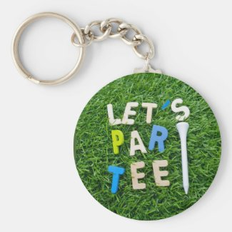 Golf Par tee with word fof golfer party on green Keychain