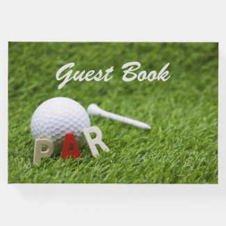 Golf Par to Pair with golf ball and tee on green Guest Book