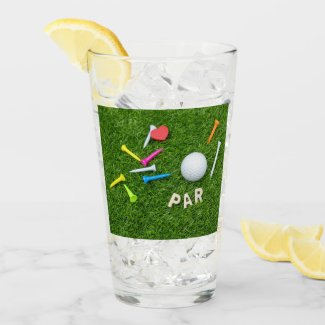 Golf Par with golf ball and tees are on green Glass