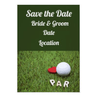 Golf Par with love on green grass bride & Groom Invitation
