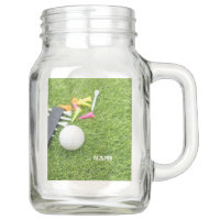 Golf Party with golf ball and colourful tee Mason Jar