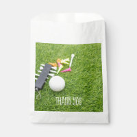 Golf Party with golf ball and colourful tee Thanks Favor Bag