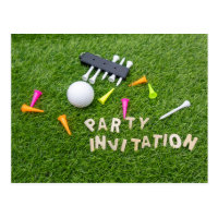 Golf Party  with golf ball and colourful tees Postcard