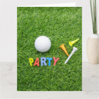 Golf Party with golf ball with colourful tees Card