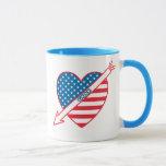 Golf Patriot Heart Flag Mug