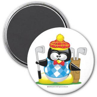 Golf Penguin 3 Inch Round Magnet