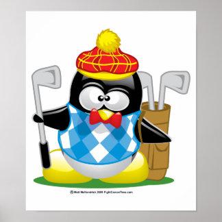 Golf Penguin Poster