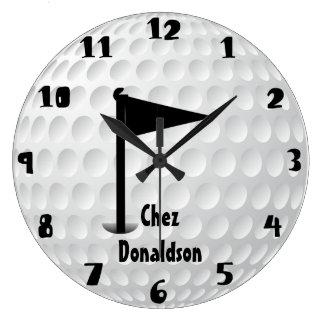 Golf personalizado diversión reloj redondo grande