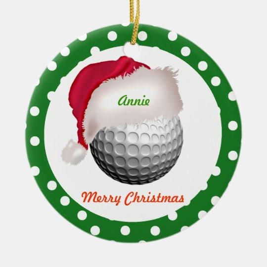 Golf personalize ornament Santa Ball