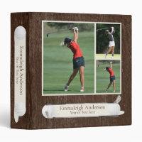 Golf Photo Collage Dark Wood Binder