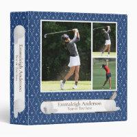 Golf Photo Collage Navy Blue Binder