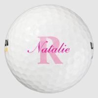 Golf pink monogram name & initial golf balls
