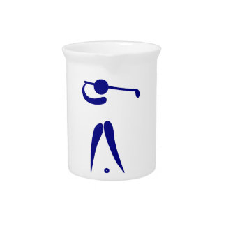 Golf Player Blue White Sports, add text and color Drink Pitcher