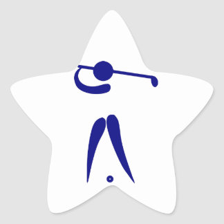 Golf Player Blue White Sports, add text and color Star Sticker