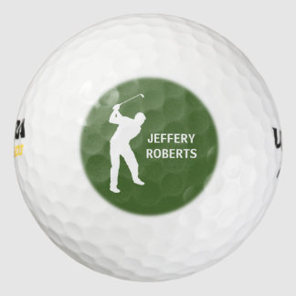 Golf Player Logo with Custom Monogram Name Golf Balls