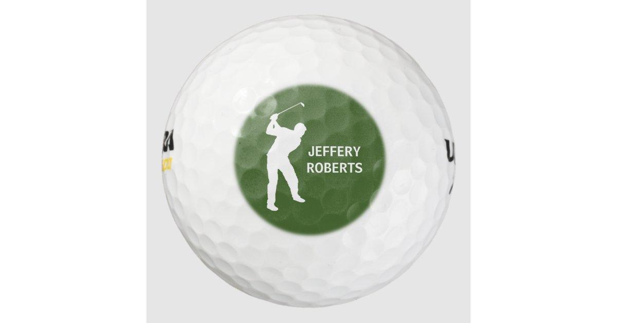 Golf Player Logo With Custom Monogram Name Golf Balls Zazzle