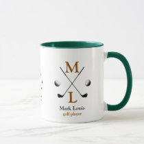 golf player monogram logo mug
