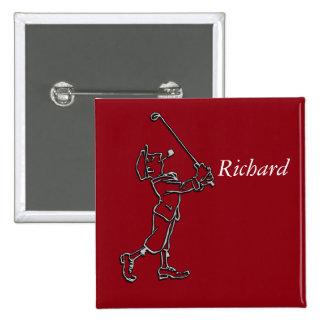 Golf Player outline design ~ editable background Button