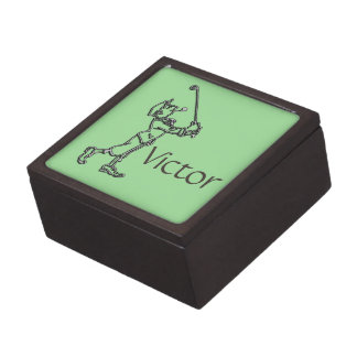 Golf Player outline design ~ editable background Jewelry Box