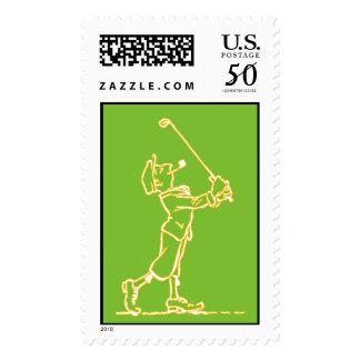 Golf Player outline design ~ editable background Postage
