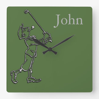Golf Player outline design ~ editable background Square Wall Clock