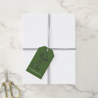 Golf Player outline design ~ editable text & color Gift Tags